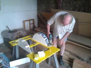 Bob Deegan at work on the new InnerTuba TubaTrailer.